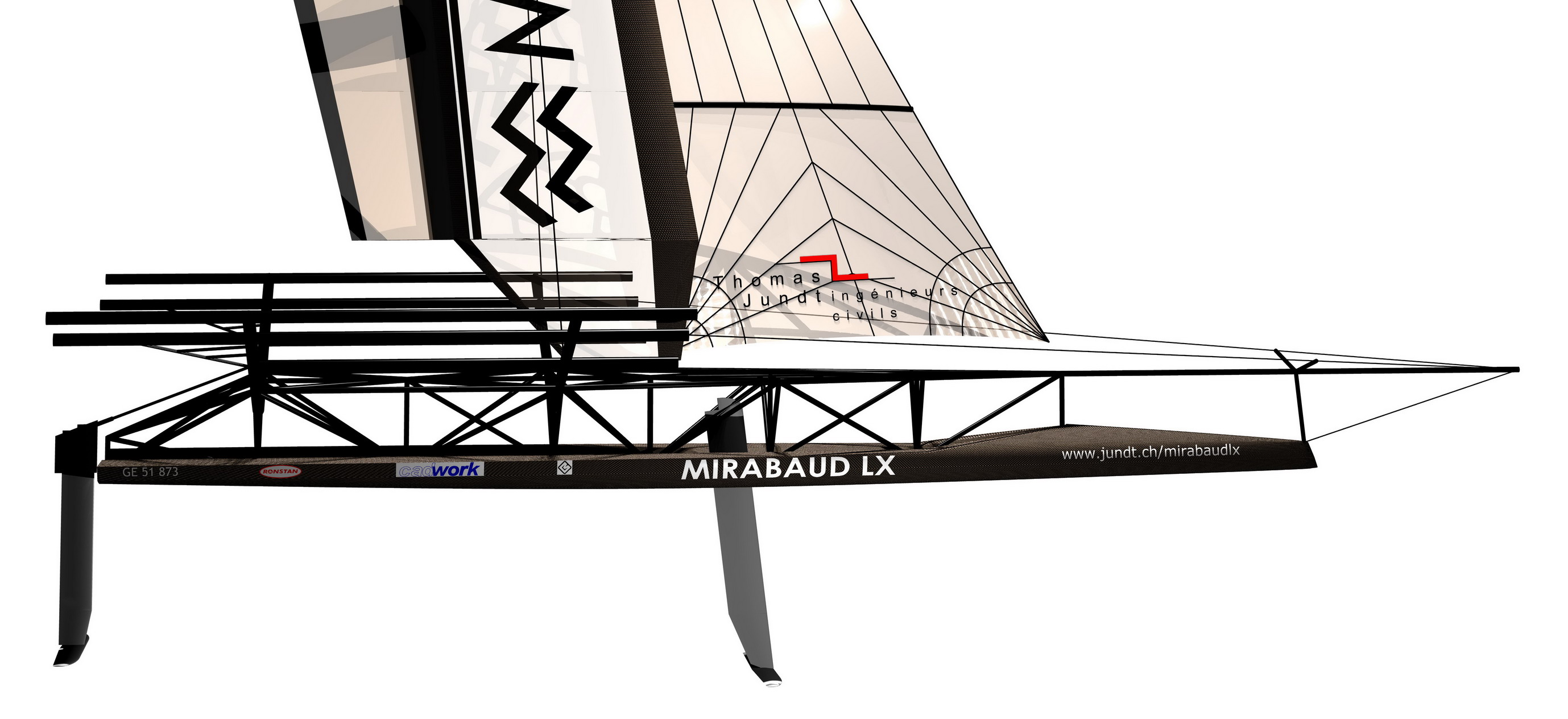 3D Model showing the wingsail on Mirabaud LX