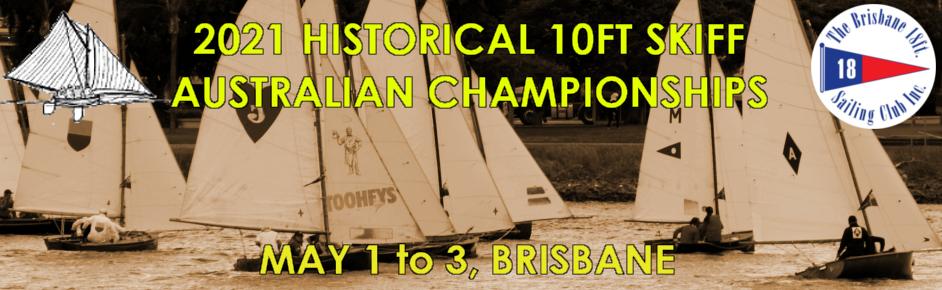 Advertising banner for 2021 Historical 10ft Skiff Australian Championships
